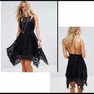 Free People Like Honey Lace Dress in Black Sz 4